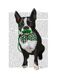 Boston Terrier with Green Moustache and Spotty Green Bow Tie Premium Giclee Print by  Fab Funky