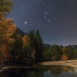 Bright Star Sirius and Constellation Orion over the Merced River in Moonlight Photographic Print by Babak Tafreshi