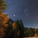 Bright Star Sirius and Constellation Orion over the Merced River in Moonlight, with Aspen Trees Photographic Print by Babak Tafreshi