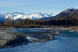 A Scenic View of the Chilkat River and the Snowy Chilkat Range Photographic Print by Bob Smith