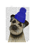 Border Terrier with Blue Bobble Hat Print by  Fab Funky