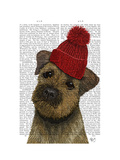 Border Terrier with Red Bobble Hat Prints by  Fab Funky