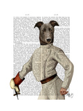 Greyhound Fencer in Cream Portrait Premium Giclee Print by  Fab Funky