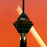 A Multi-Exposure Image of the New Moon Setting in the Evening and the Milad Communication Tower Photographic Print by Babak Tafreshi