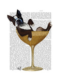Boston Terrier in Cocktail Glass Art by  Fab Funky