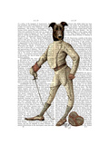 Greyhound Fencer in Cream Full Premium Giclee Print by  Fab Funky
