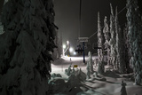 A Chair Lift at Night at the Big White Ski Resort Photographic Print by Michael Hanson