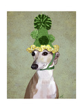 Greyhound in Green Knitted Hat Posters by  Fab Funky