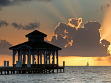 Pier Palapa and Distant Sailboat at Sunrise, Ambergris Caye, Belize Photographic Print by Green Light Collection