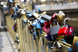 Padlocks Have Attached to a Bridge Near the Charles Bridge Symbolize Love Photographic Print by Jill Schneider