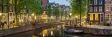 Houses Along Canal at Dusk at Intersection of Herengracht and Brouwersgracht Fotografisk trykk av Panoramic Images