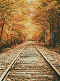 Autumn Railroad, New Engalnd Fall Foilage Metal Print by Vincent James