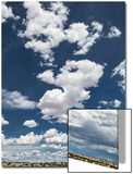 Fluffy Cumulus Clouds Above Desert Landscape in Northeastern New Mexico Poster by Kent Kobersteen