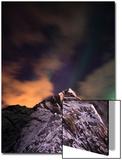 An Aurora Borealis Behind a Mountain Peak in Andenes Art by Sergio Pitamitz