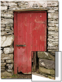 A Red Door in a Stone House in County Kerry, Ireland Posters by Jeff Mauritzen