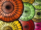 Colourful Painted Umbrellas, Parasols Made from Paper and Bamboo, Nyaung-U Metal Print by Stephen Studd