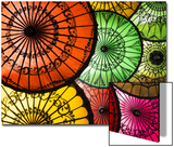 Colourful Painted Umbrellas, Parasols Made from Paper and Bamboo, Nyaung-U Prints by Stephen Studd