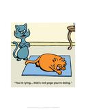 Cat Yoga - Antony Smith Learn To Speak Cat Cartoon Print Art by Antony Smith