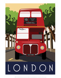 London, Red Bus - White One Sugar Contemporary Travel Print Posters by  White One Sugar