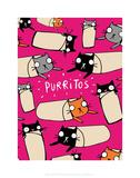 Purritos - Katie Abey Cartoon Print Poster by Katie Abey