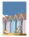 Beach Huts Close Up - Dave Thompson Contemporary Travel Print Prints by Dave Thompson