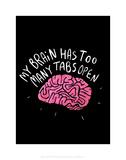 My Brain - Katie Abey Cartoon Print Prints by Katie Abey