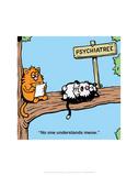 Psychiatree - Antony Smith Learn To Speak Cat Cartoon Print Posters by Antony Smith