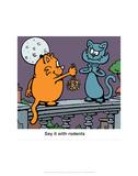 Say it with Rodents - Antony Smith Learn To Speak Cat Cartoon Print Prints by Antony Smith