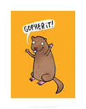 Gopherit! - Katie Abey Cartoon Print Prints by Katie Abey
