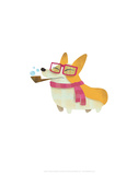 Dog with pipe, scarf and glasses - Hannah Stephey Cartoon Dog Print Prints by Hannah Stephey