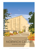 Norwich Castle - Dave Thompson Contemporary Travel Print Prints by Dave Thompson