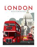 London Routemaster - Dave Thompson Contemporary Travel Print Poster von Dave Thompson