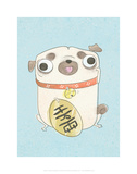 Pug holding sign - Hannah Stephey Cartoon Dog Print Print by Hannah Stephey