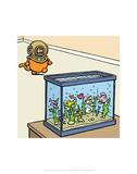 Fish Tank - Antony Smith Learn To Speak Cat Cartoon Print Posters by Antony Smith