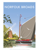 Norfolk Broads - Dave Thompson Contemporary Travel Print Prints by Dave Thompson