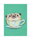 Pug in a teacup - Hannah Stephey Cartoon Dog Print Prints by Hannah Stephey