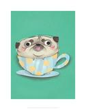 Pug in a teacup - Hannah Stephey Cartoon Dog Print Prints by Hannah Stephey