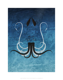 Giant Squid - Jethro Wilson Contemporary Wildlife Print Prints by Jethro Wilson
