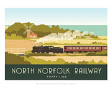 North Norfolk Railway - White One Sugar Contemporary Travel Print Prints by  White One Sugar