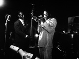 Miles Davis (C) with Oscar Pettiford and Bud Powell, Birdland, 1949 Foto