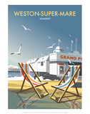 Weston Super Mare - Dave Thompson Contemporary Travel Print Prints by Dave Thompson