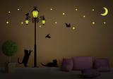 猫シルエットウォールステッカー・壁用シール(蓄光) ウォールステッカー
