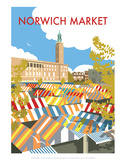 Norwich Market - Dave Thompson Contemporary Travel Print Prints by Dave Thompson