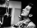 Bob Dylan During Recording of His 1st Disc in New York at Columbia Studios Photo