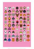 Mixed Pink - Animaru Cartoon Animal Print Giclee Print by  Animaru