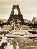 View from Chaillot Palace of Eiffel Tower Built for World Fair in 1889, Here 2nd Floor, 1888 Photographie
