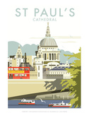 St Pauls Cathedral - Dave Thompson Contemporary Travel Print Prints by Dave Thompson