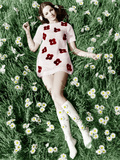 Young Model Biddy Lampard in the Grass Wearing a Short Dress (With Daisies) Inspired by Courreges Photo