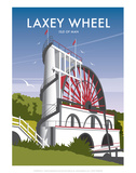 Laxey Wheel - Dave Thompson Contemporary Travel Print Prints by Dave Thompson