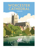 Worcester Cathedral - Dave Thompson Contemporary Travel Print Prints by Dave Thompson